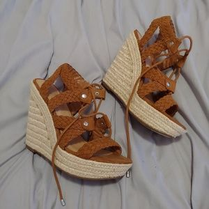 """Mossimo supply co 4"""" brown strappy wedges"""